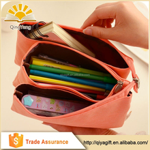 wholesale large triple custom canvas pattern unbranded 3 zipper pencil case with compartments