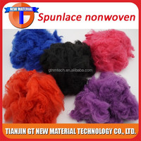 Wholesale black polyester staple fiber price/ Virgin Dope Dyed Polyester Fiber for colored spunlace nonwoven