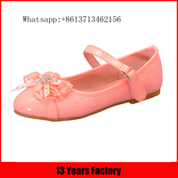 Pink genuine leather upper flower ornament round toe fashinal popular new style fancy baby girls little girls shoes