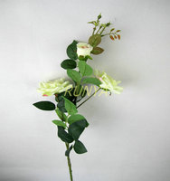 Single stem three flower artificial open rose