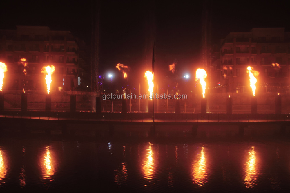 Special Water Feature Nozzle Produced Fire Fountain