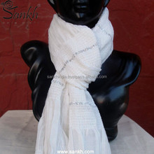 White Colored Spandex Viscose with Lurex Neck Wrap Scarf, Stoles, Shawls