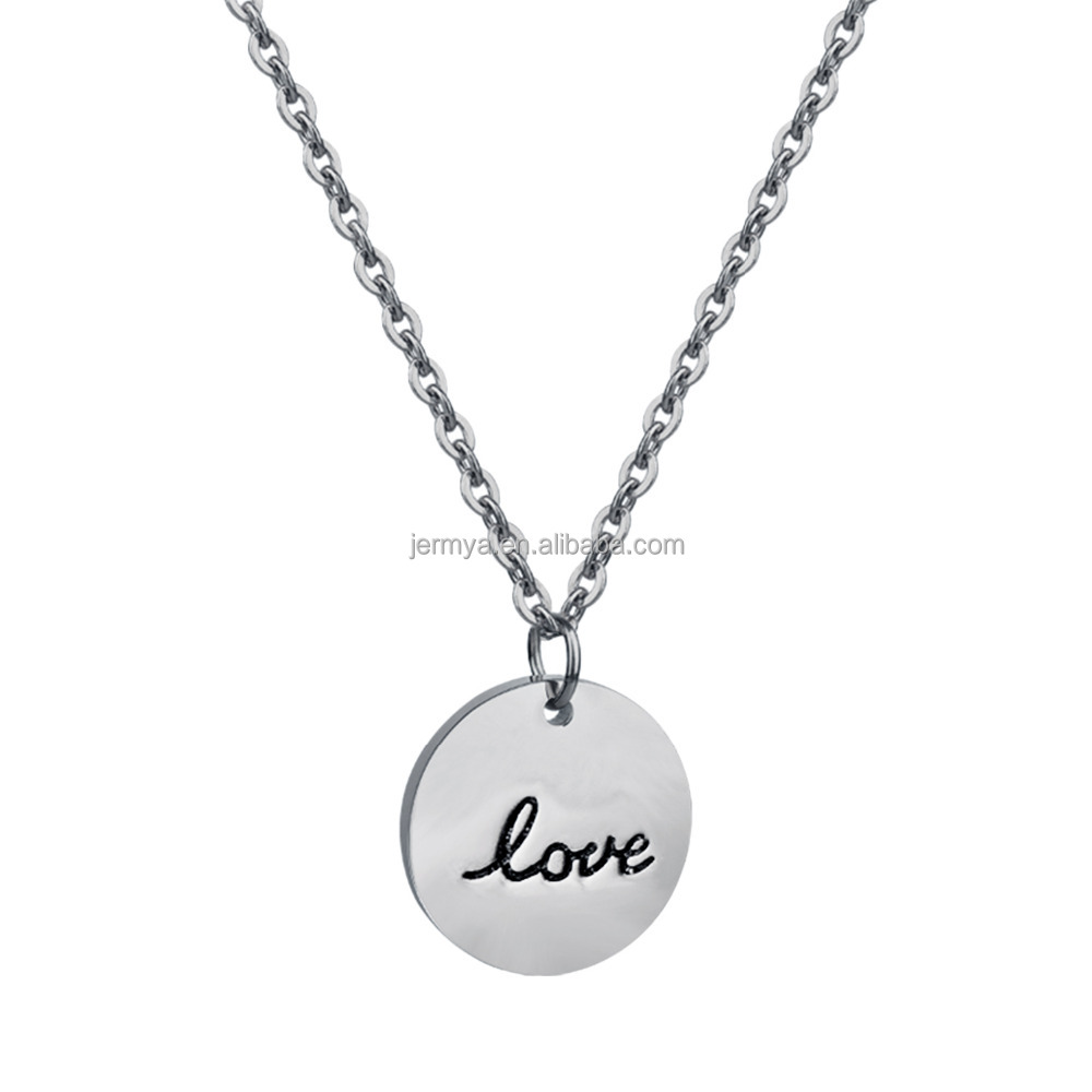"Jermya Sterling Silver ""LOVE"" Engraved Disc Pendant Necklace Charm Necklace"