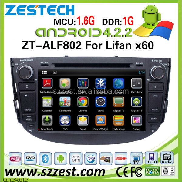 ZESTECH android car pc for Lifan X60 navigation system with 3g wifi in-dash gps satellite radio