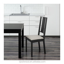 Modern nordic style wooden black dining chair with seat cushion