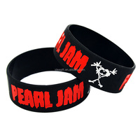 "New Arrived Pearl Jam 1"" Wide Ink-filled Silicone Wristband"