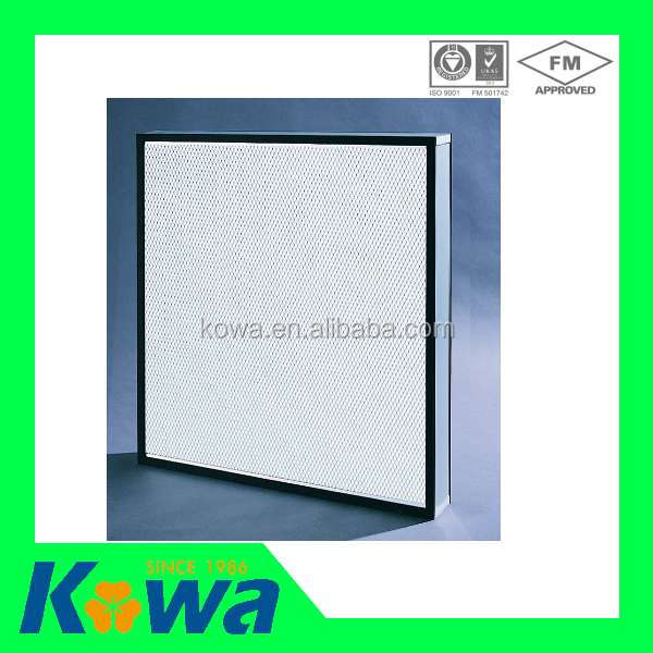 Kowa Air filter Clean room 0.3 mircon 99.99% Mini Pleat Type Hepa Filter class 100 hepa filter