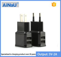 Wholesale 5V 2A EU / US Plug Dual USB Charger Adapter for Samsung , AiNaU [ MOYOTO ORIGINAL ]