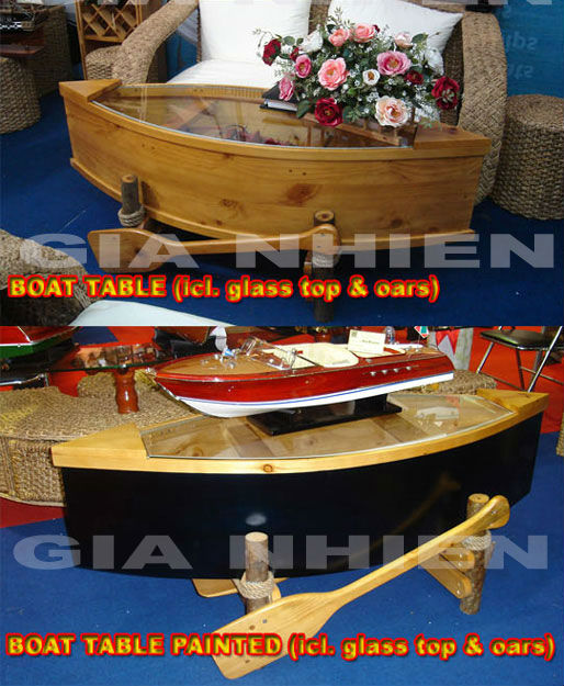 BOAT TABLE WITH OARS & GLASS TOP HANDICRAFT MODEL
