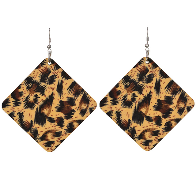 Big beautiful women jewelry geometric square leopard tribal wood earrings on sale