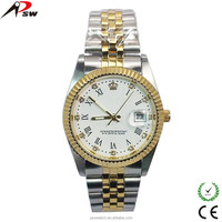 crown gold and silver stainless steel novelty cheap custom wrist watch
