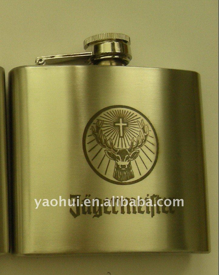 Stainless steel hip flask with engraved logo