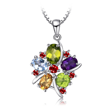 JewelryPalace Flower Multicolor 3ct Genuine Amethyst Garnet Peridot Citrine Blue Topaz Pendant 925 Sterling <strong>Silver</strong>