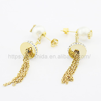 Wholesale new design bear with pearl accessories and gold plated tassel earrings