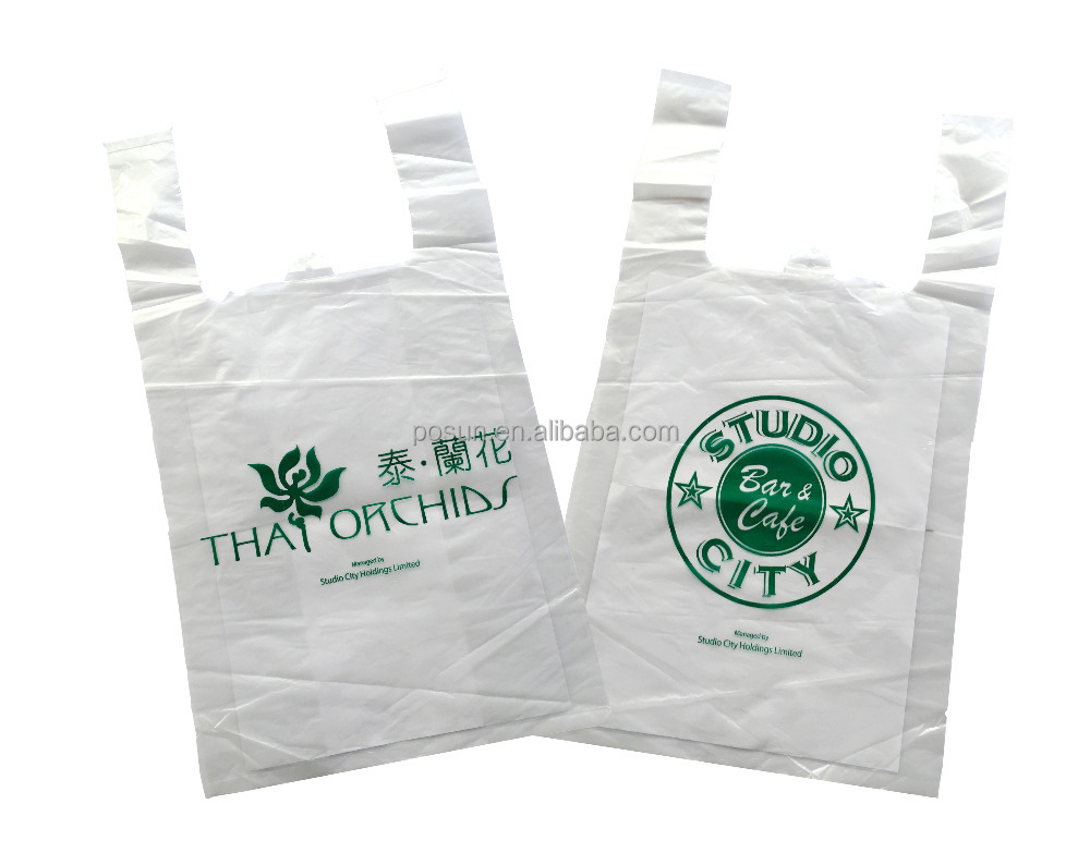 Custom design Hot sale cheap plastic vest bag/carrier bag for supermarket