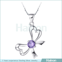paved purple single butterfly pendant high quality allergy free