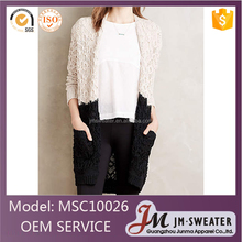Wholesale 2016 Hot woman clothing crochet cardigan sweater coat ladies fashion black and white color long sweater