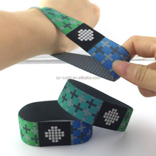 New Custom Reusable Flexible Stretch Woven RFID NFC Wristbands for Access Control Systems