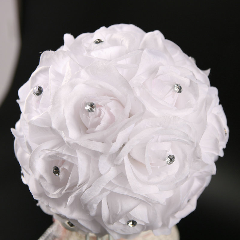 22 Rose Heads and 8 Plastic Stems Handle White Silk Wedding Flower Bouquets