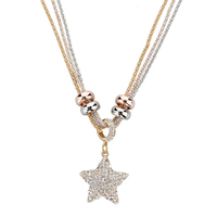 High Fashion Full Rhinestone Moon and Star or Sea Star Pendant Necklace