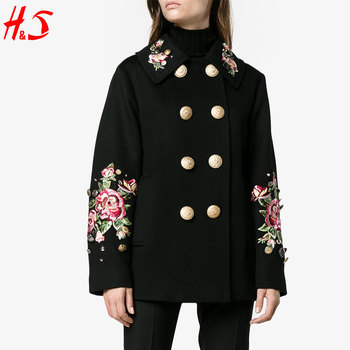 2018 Trending Products Military Multicolored Rose Floral Embroidered Design Jacket Coat For Women With Breasted Front Button