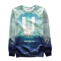 MSS340 3D sublimation crewneck sweatshirt, custom wholesale crewneck sweatshirts with leather sleeves
