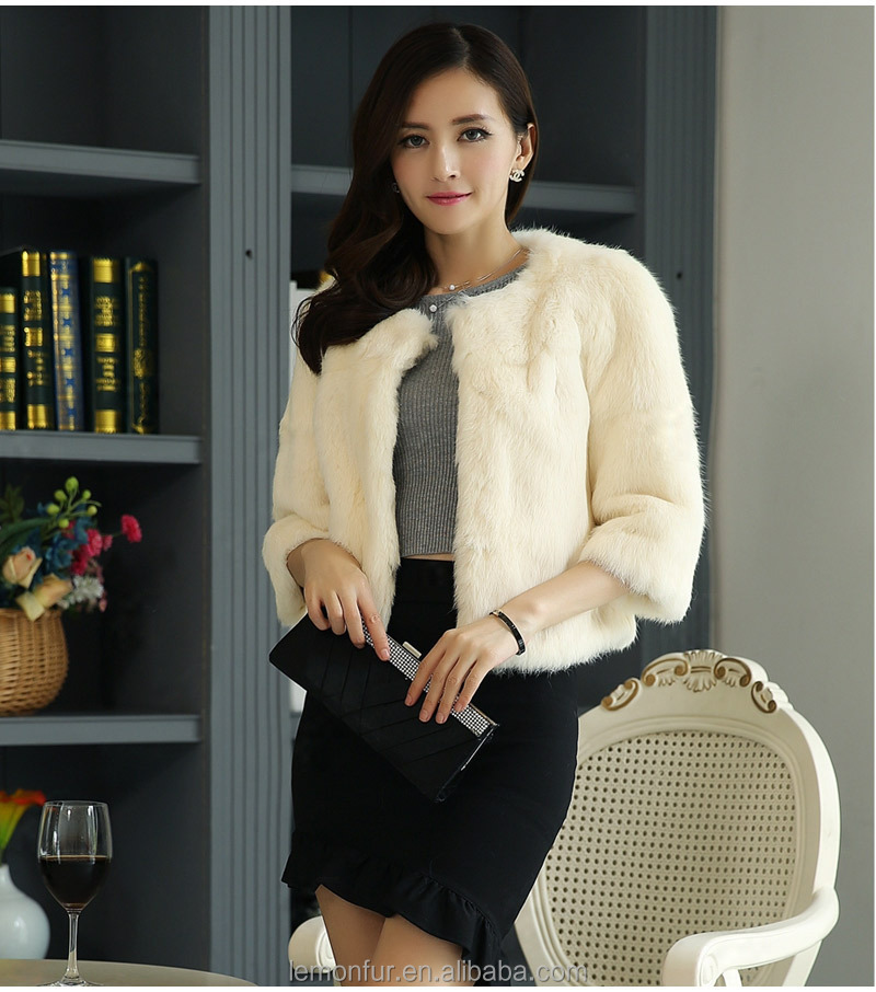 2016 fashion ladies real rabbit fur coat