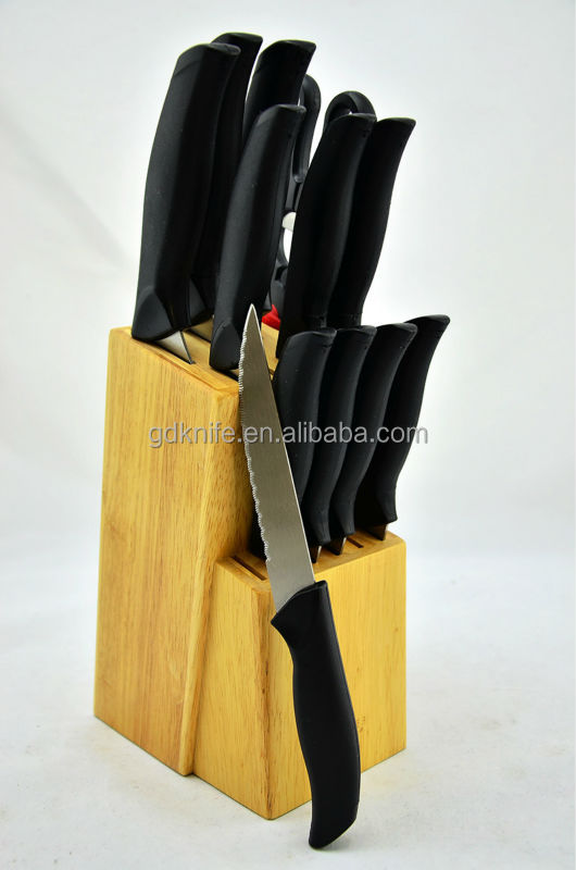High quality 12pcs plastic handle with wooden block stainless steel kitchen knife set