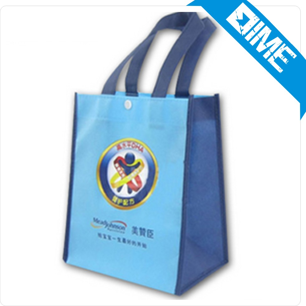 custom pp material recycled non woven shopping tote bag no minimum blue color