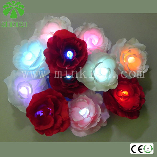 Battery powered artificial floating flower led lights