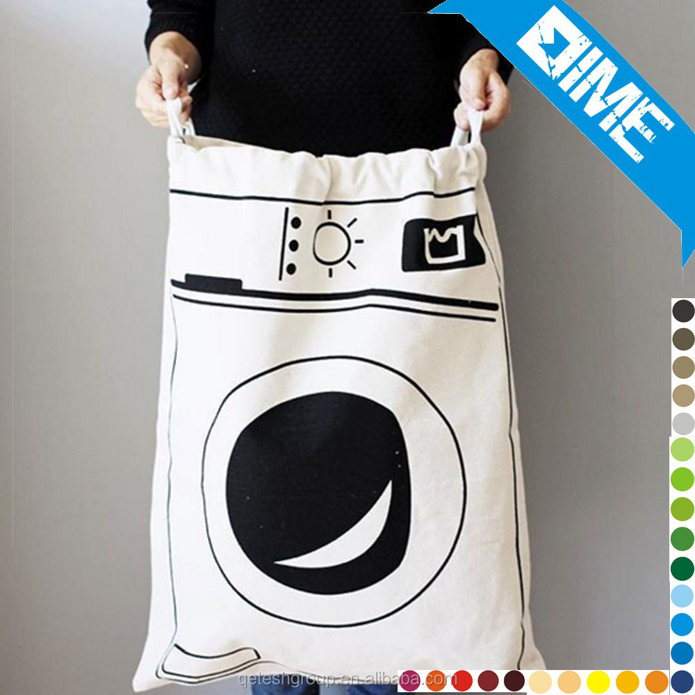china supplier drawstring Style and Cotton Material large canvas laundry bag