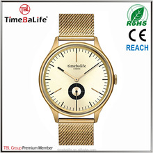 High Grade OEM Chronograph Stainless Steel Mesh Band Gold Luxury Watches Men Women