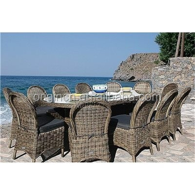 12 seater uk style wholesale rattan restaurant round dining table with turntable and cheap banquet chairs