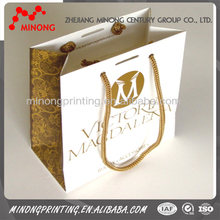 Factory custom wholesale printed paper bags with cord handle