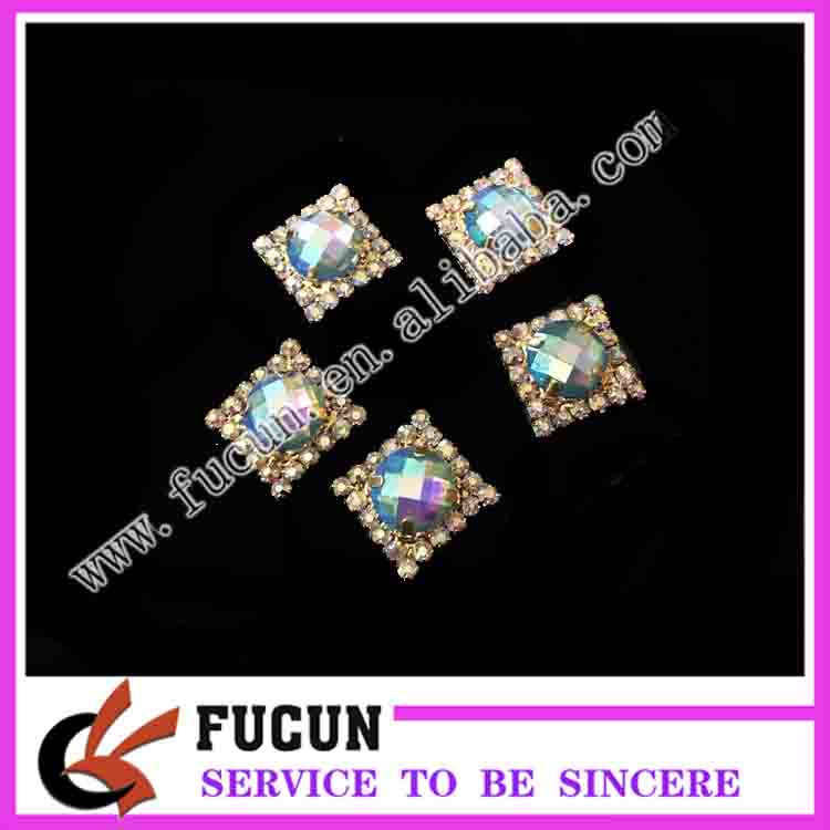 Small flat back Multi Color Crystal Epoxy resin brooch for dress