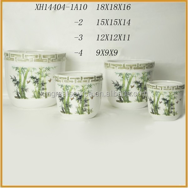 new bamboo pattern ceramic flower pots terracotta plant pots wholesale