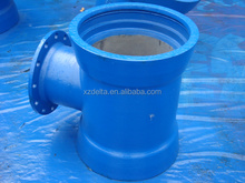 ISO9001 DN100 Ductile Iron Pipe Fitting Double socket tee with flanged branch