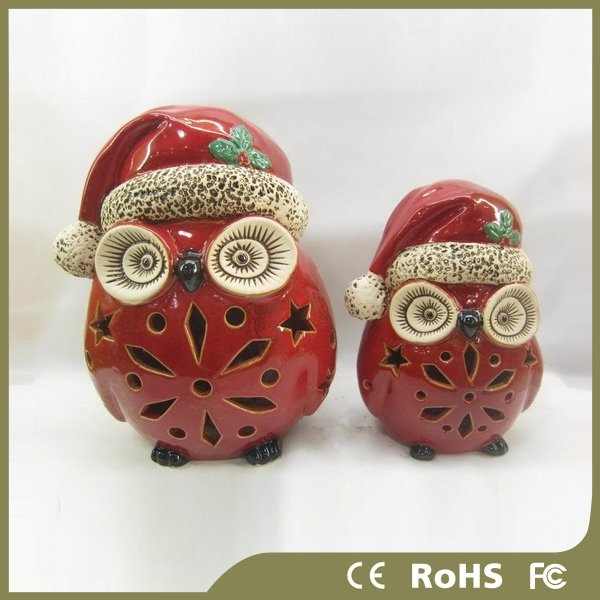 Ceramic owl design light christmas