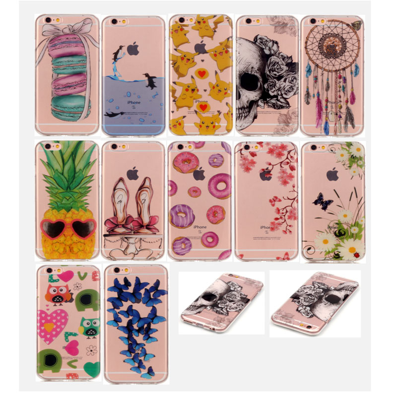 Sweet Food Pattern Printed Flexible Soft Slim Transparent Rubber Clear TPU Case for iPhone 5c 5s 6s 6s plus
