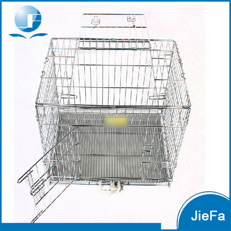 Folding large wire pet crate