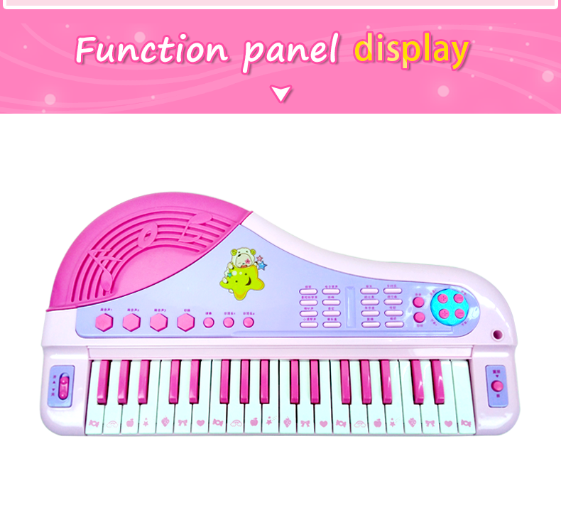 ABS plastic vintage Mini music kids game toy piano with Microphone