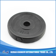 Cement filled plastic barbell weight plates