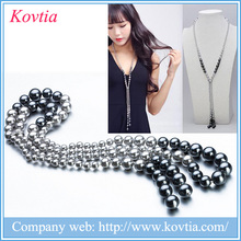 collares de moda 2015 silver pearl chain black pearl beads long necklace best-selling costume jewelry