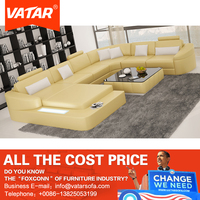 VATAR chairs living room yellow leather sectional sofa set