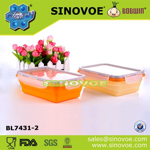 LFGB/FDA Rectangular silicone collapsible lunch box