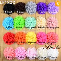 20 stock Color Wholesale Decoration wedding large chiffon hair flower