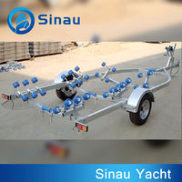 5.98m 20ft china factory small heavy duty hydraulic steel boat trailer with roller