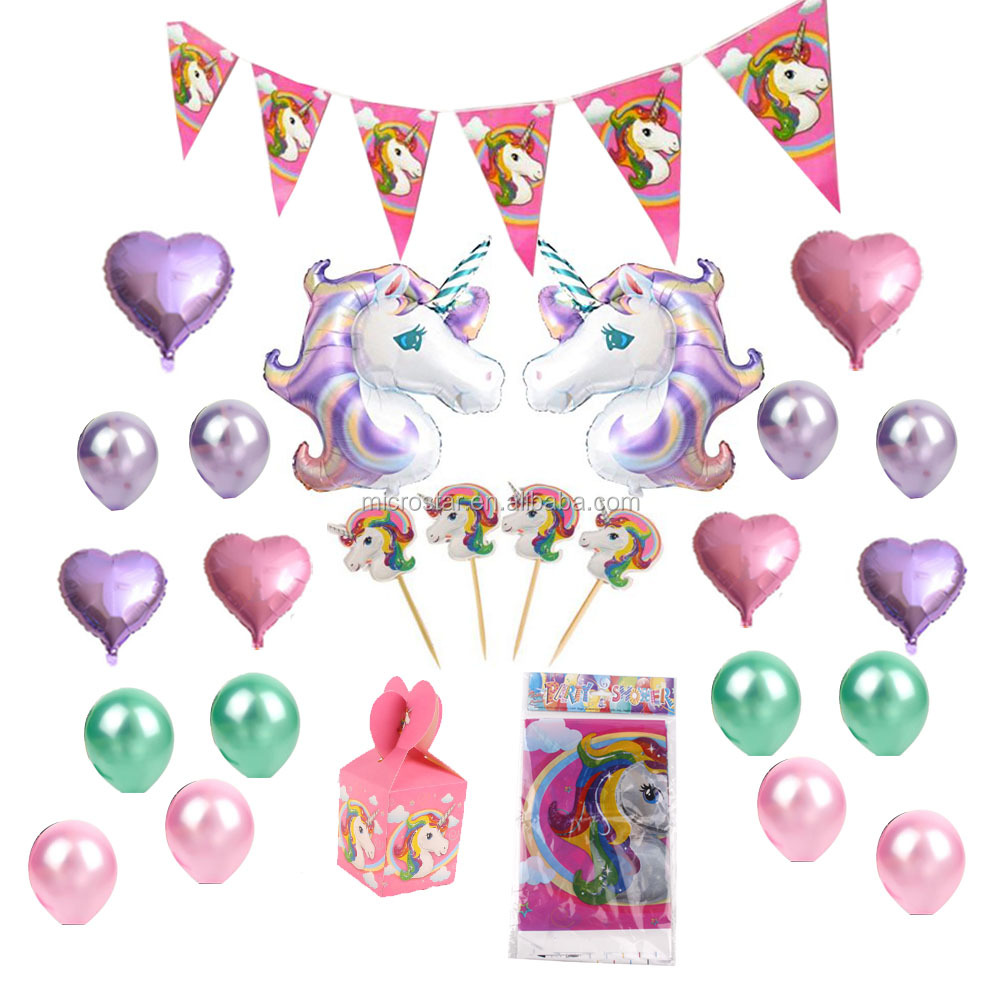 Set Disposable Tableware Cake Toppers Part Hanging Decoration Kit Blowouts Eye Masks Invitation Unicorn Party Supplies