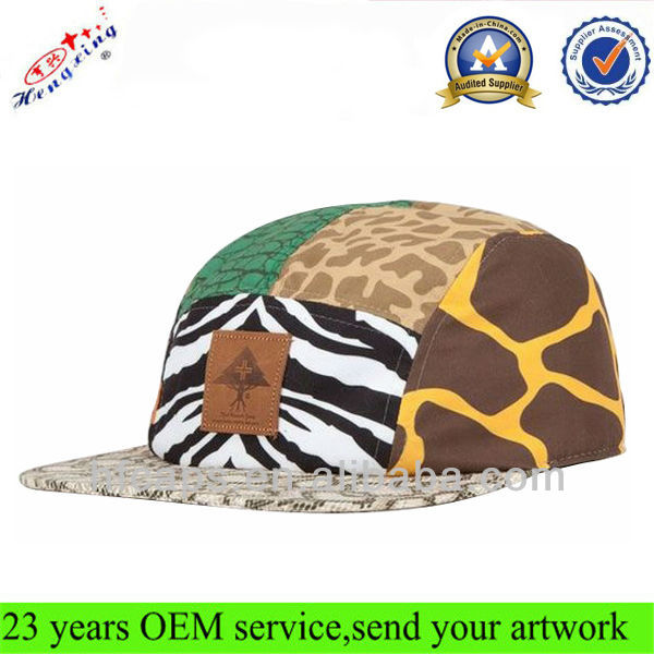 Cool Flat Brim Cheap Custom 5 Panel Cap With Leather Patch