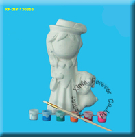 DIY ceramic bisque girl & dog figurine paint set wholesale